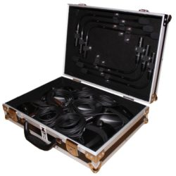 Schrägansicht von 6er Koffer Shure MX 412 Schwanenhalsmikrofon Eventtechnik